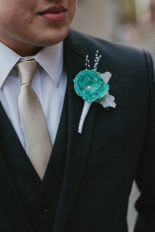Handmade boutonniere. Lace is from my great aunts wedding dress